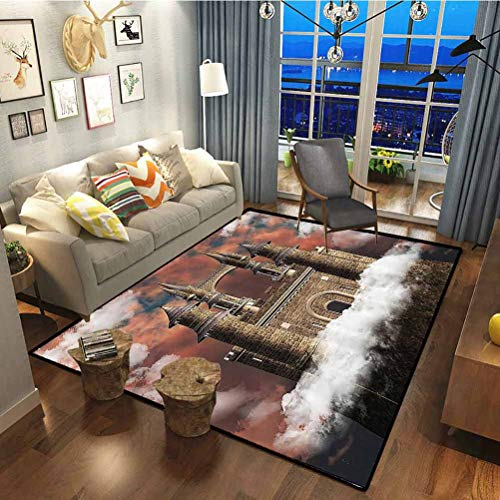 Medieval Decor Collection Multicolored Rug for Luxury Carpets for Floors, Bed and Living Room Fairy Magic Castle on The Hill Middle Age Tales Unusual Facts in Graphic Art White Red Grey 5 x 7 ft