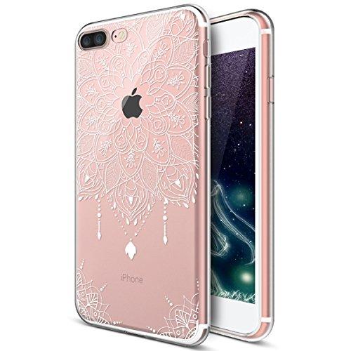 Kompatibel mit iPhone 8 Plus Hülle,iPhone 7 Plus Hülle,Weiße Henna Mandala Blumen Spitze Paisley Indische Sonne TPU Silikon Hülle Tasche Durchsichtig Handyhülle Schutzhülle für iPhone 8 Plus/7 Plus,#4