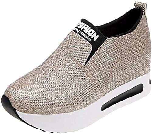 Zapatillas de Deporte para Mujer Otoño 2018 Zapatos de Plataforma de Dama PAOLIAN Casual Lentejuelas Lona Cómodo Calzado de Señora de Moda Breathable Zapatillas de Vestir