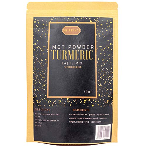 Griffin's MCT Turmeric Latte Powder. 75 Cups of Golden Milk. High Strength Organic Curcumin. Premium superfood blend.