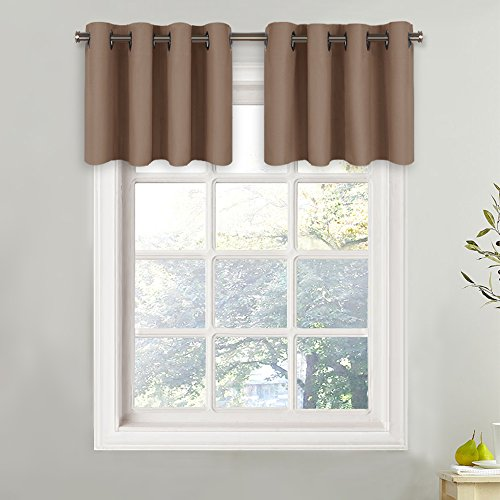 NICETOWN Blackout Valance for Small Window - Grommet Top Window Treatment Blackout Tier Panel Drape for Bedroom (One Pcs, W52 x L18-Inch + 1.2-Inch Header, Cappuccino)