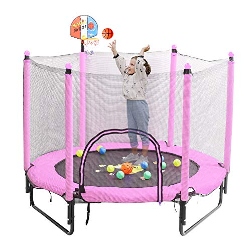 Trampoline for Kids 5 FT Indoor Outdoor Toddler Trampoline Bulit-in Zipper Heavy Duty Steel Frame with Basketball Hoop, Rubber Ball and Safety Net (Pink)
