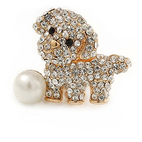 Avalaya Cute Crystal Puppy Dog with Pearl Ball Brooch - 30mm
