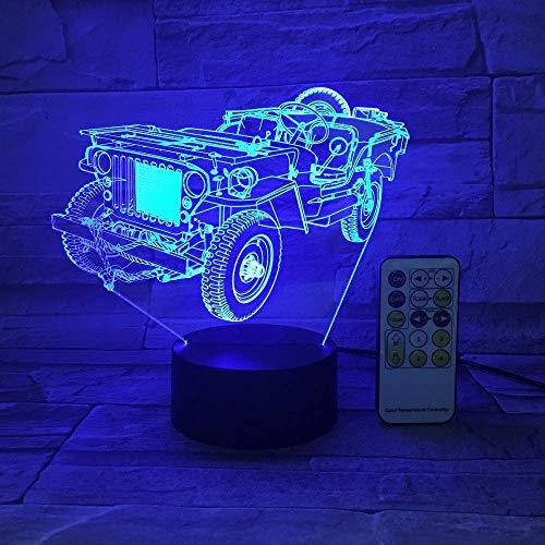 Luz De Ilusión 3D, Jeep De Siete Colores, Luz Para Dormir, Utilizada Para Decorar Regalos De Cumpleaños En El Dormitorio Y La Sala De Estar