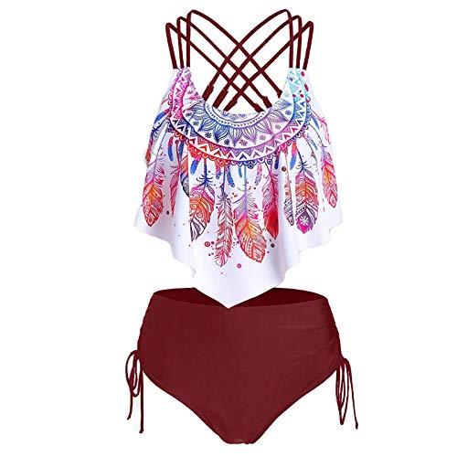 Damen Badeanzug Hoher Taille Neckholder Tankini Push Up Tankini Bandeau Bikini Sets Badekleid Figurformender #30 Wein L