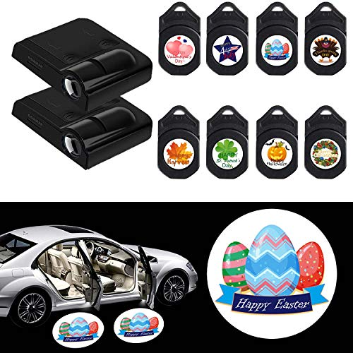 Easter 2Pcs for Car Door LED Projector Lights, Easy Installed Welcome Laser Projector Pastable Logo Light with 16 Logo Film Slide (8 American Traditional Festiavals)