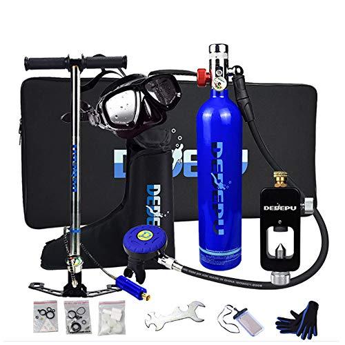 WOTR Scuba Diving Tank, 1L Tauchende Sauerstoffflasche mit 15-20 Minuten Kapazität, Mini Tauchflasche mit Hochdruck Luftpumpe, nachfüllbarem Design, für Reisen und Tauchen,Blau