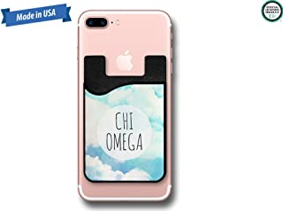 Chi Omega Watercolor Blue Sky with Clouds Cell Phone Caddy Sticker Wallet (PC1125)