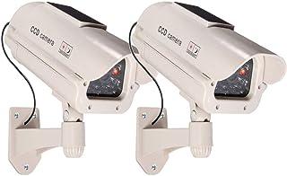 2 grote dummy camera's op zonne-energie met lens met knipperend licht voor binnen en buiten waterdicht hoogwaardig