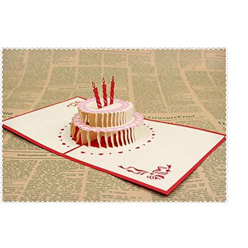 StageOnline Pop Up Cards, Verjaardag Handgemaakte 3D Pop up Verjaardagskaart voor Vrouwen Mannen Kinderen met Envelop Laser Cut Gift Cards (Birthday cake met kaars)