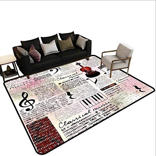 Superior hal tapijt Oude Krant Decor, Klassieke Muziek Thema Instrumenten Piano Viool Noten Symbolen, Ruby Licht Roze Zwart