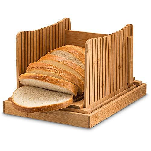 DIYARTS Cortador de Pan guía de Corte de bambú Plegable Multifuncional para Pan, Pan, Pan, Pan, Pasteles, panes caseros
