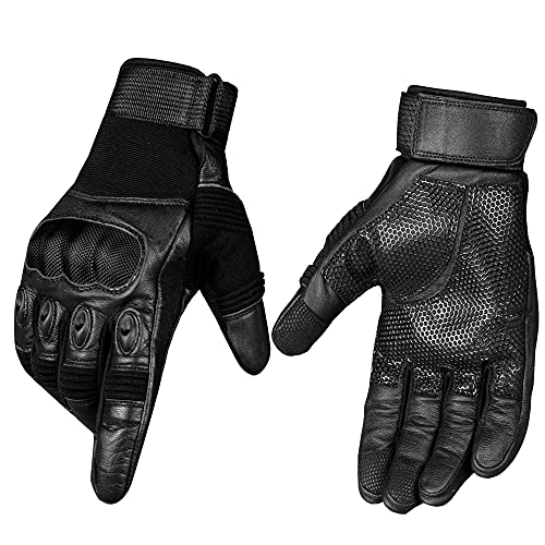 Men's Motorcycle Gloves Protective Genuine Leather Tactical...