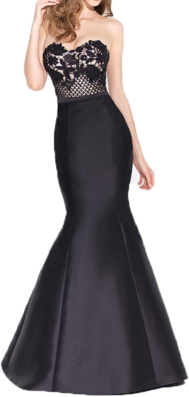Ellenhouse Women's Long Mermaid Sweetheart Satin Evening Prom Party Dress EL265