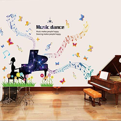 Música Piano Etiqueta de la pared para habitaciones de niños Decoraciones Dormitorio de niñas Decoración de la sala de baile Extraíble Wallsticker Diy Art Decals