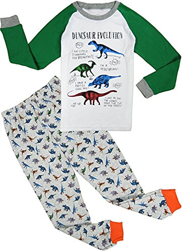 Babyfashion Pigiama da 2 Pezzi di Dinosauro eccetera Sia Par Bambino Sia per Ragazzo Sono 100% di Cotone (da 2 Anni Fino a 10 Anni)(Grigio-9-10 Anni)