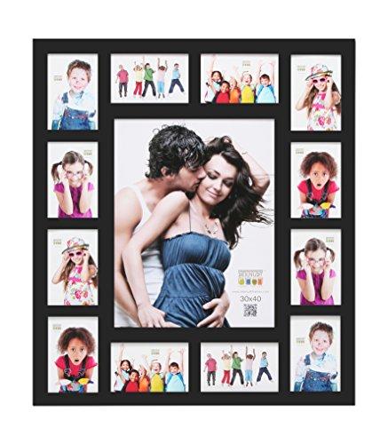 Deknudt Frames S66XK2 - G13 - Cadre Multi-Photos 12 Ouvertures Noir 30 x 40 cm