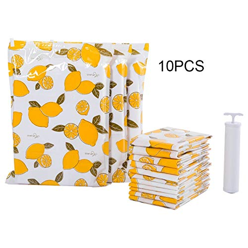 LZF Travel Compression Bags, 10 Pack Vacuum Storage Bags with Free Hand Pump | Best Sealer Bags for Clothes, Duvets, Bedding, Pillows, Blankets, Curtains (Color : Yellow, Size : 10pcs)