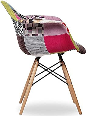 Modern Patchwork Upholstery DSW Dining Chair / Living Room / Lounge Chair / Cafe Chair / Side Chair / Accent Chair / Natural