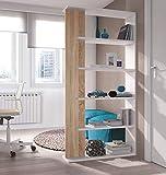 Salone-negozio-online Kit LIBRERIA Alida CM.90X25X180H Parete ATTREZZATA SCAFFALE, Bianco, 4 Ripiani