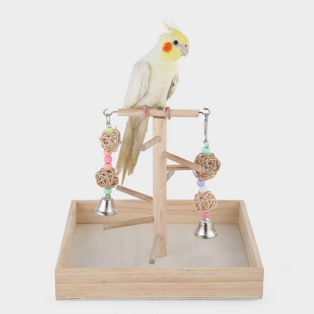 GFEU Parrots Play Stands Madera Pájaro Parque Perca Gimnasio con Campanas Juguetes para Cocatoo Parakeet: Amazon.es: Productos para mascotas