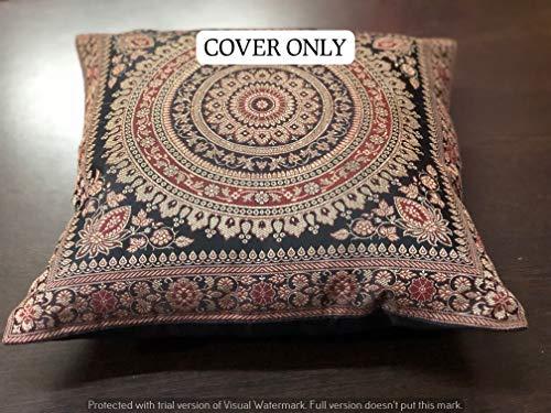 GANESHAM - Housse de coussin banarsi banarsi faite à la main - Pour extérieur, décoration ethnique, maison, décoration bohème, broderie, style vintage Mandala 40 x 40 cm