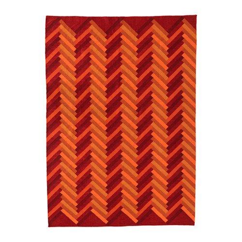 IKEA Rug, flatwoven, Handmade Zigzag Pattern, Zigzag Pattern Orange Orange 228.14178.1814