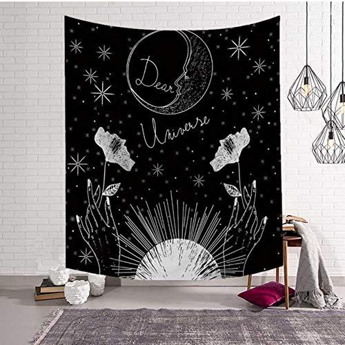 Tapiz de mandala para colgar en la pared, brujería, hippie, alfombra para lanzar en la playa, alfombra, tapiz de sol y luna, tapiz bohemio para el hogar, decoración psicodélica