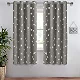 Anjee Eyelet Blackout Curtains Silver Stars Thermal Insulated Curtains 2 Panels 52 x 45 inch for Children's Room/Nursery Create Space-Themed Room for Kids Grey