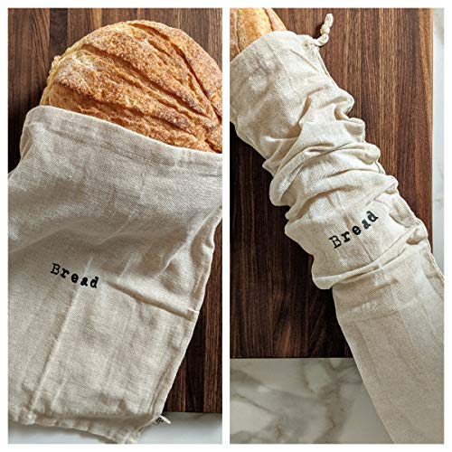 Montecito Home Combo Set of One 12'x15' Boule and One 6'x26' Baguette Natural Linen Bread Bags, Reusable Drawstring Bag for Homemade Bread Storage, Perfect for Bakers, House Warming, Etc.
