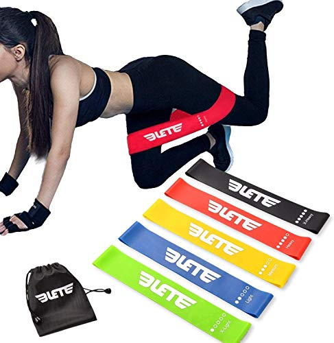 Elete Exercise Resistance Bands | Set of 1 Resistance Loops Include 5 Bands - Extra Heavy Resistance | 12 Inch Work Out Bands and Instruction Guide | Perfect for Gym, Fitness, Yoga (1 Set)