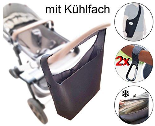 Kinderwagen-Tasche XL mit Kühlfach (Neopren) - Schultergurt - 2 Karabinerhaken - SCHWARZ - Shopper Kinderwagen-tasche gross Rollator Rollstuhl Zubehör - MIND CARE ESSENTIALS