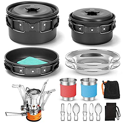 Odoland 16pcs Camping Cookware Mess Kit with Folding Camping Stove, Non-Stick Lightweight Pots Pan Set with Stainless Steel Cups Plates Forks Knives Spoons for Camping, Backpacking, Outdoor Cooking
