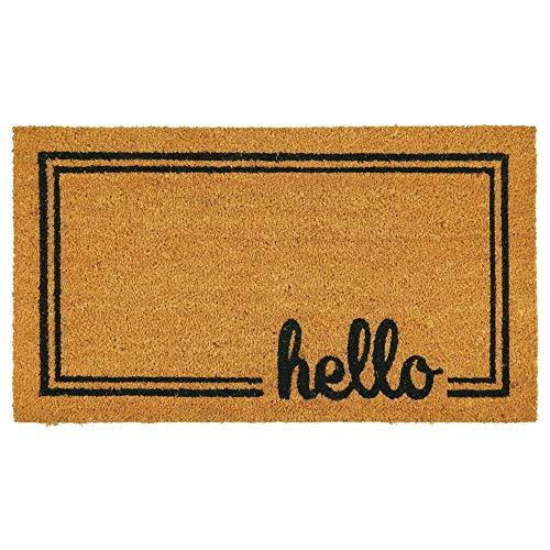 mDesign decoratieve deurmat - natuurlijke kokos deurmat met decoratief schrijven - welkomstmat voor binnen en buiten gebruik - bruin/zwart