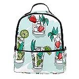 KAMEARI Sac à dos pour école, aquarelle, vert, été, cocktails, boissons, sac à dos décontracté pour voyage, avec poches latérales pour bouteille