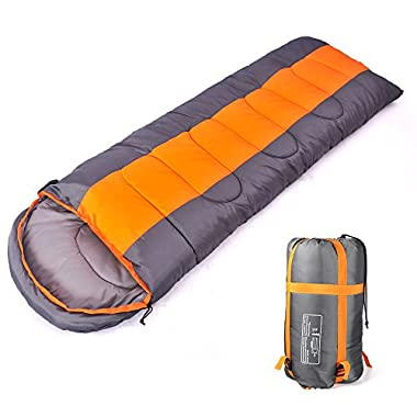 Sleeping bag, packable backpacking sleeping bags with ultralight lightweight, 2 bags spliced as a big double sleeping bag for outdoor travel, hiking, camping in all seasons (Orange color left zipper)