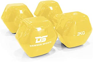 DAWSON SPORTS Unisex Adult 12248 Vinyl Dumbbell - 2kg (12248) - Yellow, 2kg