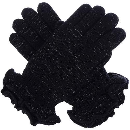 LL Feminine Ruffle Metallic Yarn Winter Lined Gloves Black Knit