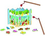 Angelspiel aus Holz - mit 15 Fischen - Holzaufsteller + 2 Stück Angel - Angeln für Kinder - mit Magnet - Spiel Fischeangeln / Kinderspiel Spiel magnetisch - W..