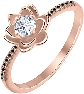 Lotus Flower Round White & Black Diamond 14K Gold Plated Women's Engagement Band Ring Sterling Silver
