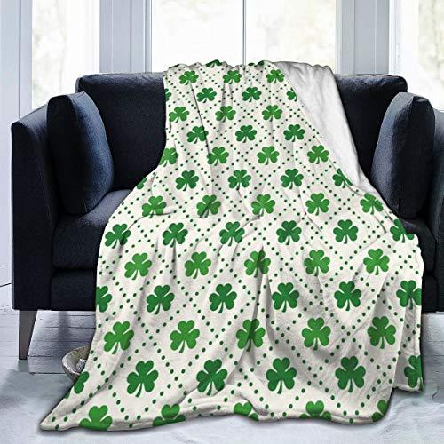 Qing_II Manta de forro polar con diseño de trébol de cuatro hojas con líneas de puntos y símbolo de cultura nacional de franela para invierno, suave y cálida, manta de 50 x 65 pulgadas para cama, sillón, oficina