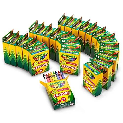 Crayola Crayons Bulk, Classroom Supplies for Teachers, 24 Crayon Packs with 24 Assorted Colors