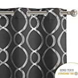 LORDTEX Geometric Foil Print Blackout Curtains for Bedroom and Living Room - Sun Light Blocking, Thermal Insulating Curtain Panels, Grommet Top Window Drapes, Set of 2, Dark Grey, 52 x 63 Inches Long