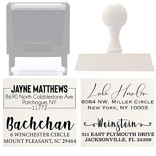 Address Stamp Custom Personalized Self Inking Rubber Return Address Stamp - Great Wedding, House Warming Gift Rubber or Wood Handle Business Christmas Address Stamp…