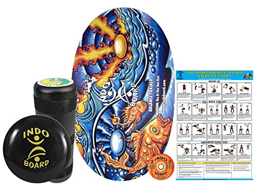 INDO BOARD Original Training Package - Yin Yang Design - Balance Board for Fitness Training and Fun - Comes with 30' X 18' Deck, 6.5' Roller and 14' IndoFLO Cushion