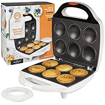 MasterChef Mini Pie and Quiche Maker- Pie Baker Cooks 6 Small Pies and Quiches in Minutes- Non-stick Cooker w Dough Cutting Circle for Easy Dough Measurement  1