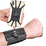 VUP Wristband Phone Holder, 360° Rotatable & Detachable Sports Wristband for iPhone 12 Pro/12/12 mini/11/11 Pro/11 Pro Max/XR/X/8/7/Plus, 4''-6.5'' Phones, Great for Hiking Biking Walking Gym (Black)