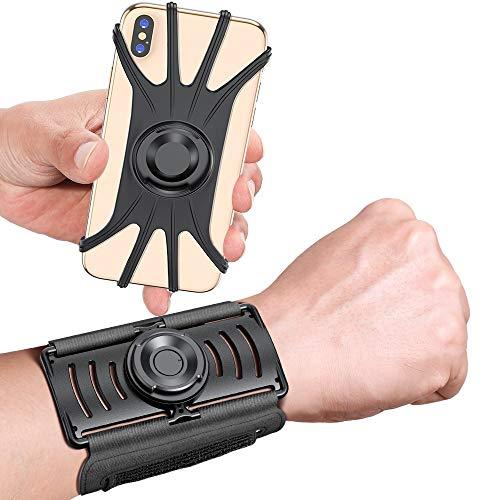 VUP Wristband Phone Holder, 360° Rotatable & Detachable Sports Wristband for iPhone 12 Pro/12/12 mini/11/11 Pro/11 Pro Max/XR/X/8/7/Plus, 4''-6.5'' Phones, Great for Hiking Biking Walking Gym (Black)