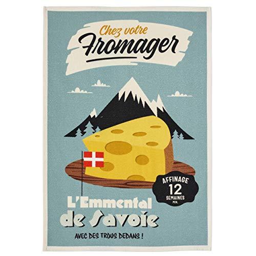 Coucke Torchon à Vaisselle en Coton imprimé numériquement, Motif de Fromage mistératomique, 50,8 x 76,2 cm, Turquoise, 100% Coton