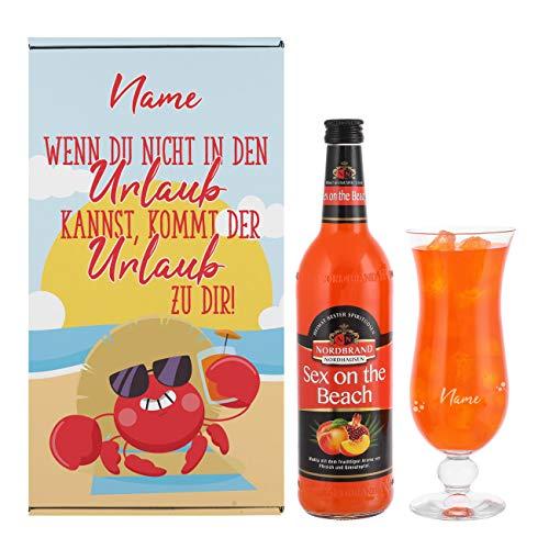 Herz & Heim® Geburtstagsgeschenk - Urlaub in der Box mit Sex on the Beach und graviertem Cocktailglas in Geschenkverpackung